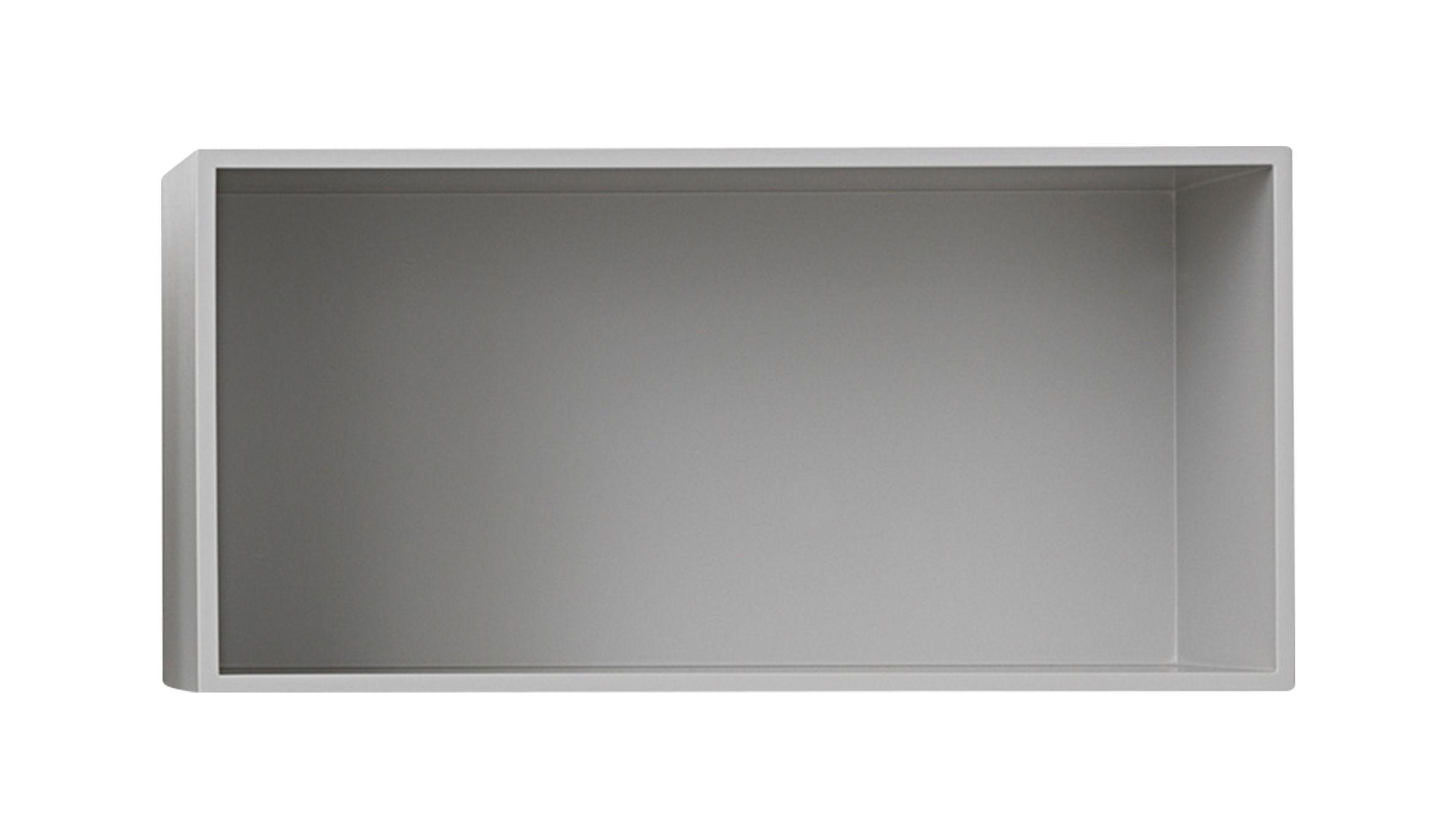 Mobilier - Etagères & bibliothèques - Etagère Mini Stacked 2.0 / Large rectangulaire 49x24 cm / Avec fond - Muuto - Gris clair - MDF peint