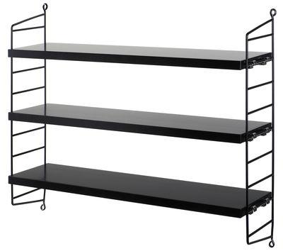Mobilier - Etagères & bibliothèques - Etagère String Pocket / L 60 x H 50 cm - String Furniture - Noir - Acier laqué, MDF laqué