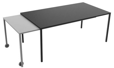 Furniture - Dining Tables - Rafale XL Extending table by Matière Grise - Anthracite grey / Grey - Epoxy painted steel