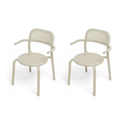 Mobilier - Chaises, fauteuils de salle à manger - Fauteuil empilable Toní / Set de 2 - Aluminium perforé - Fatboy - Sable - Aluminium