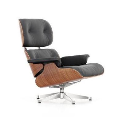 Mobilier - Fauteuils - Fauteuil pivotant Lounge Chair / Eames, 1956 - Cerisier / Pivotant - Vitra - Cerisier / Cuir noir - Cerisier, Contreplaqué cintré, Cuir, Mousse polyuréthane