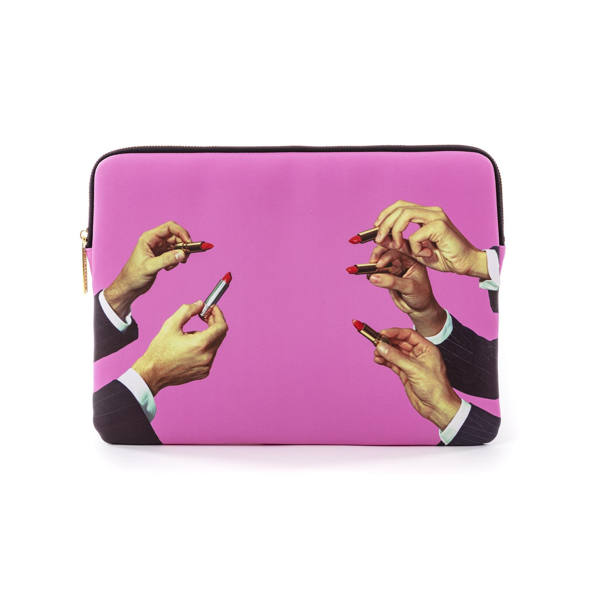 Accessoires - Sacs, trousses, porte-monnaie... - Housse pour ordinateur Toiletpaper - Lipsticks / 13 pouces - 34,5 x 25 cm - Seletti - Lipsticks / Rose - Polyester, Polyuréthane