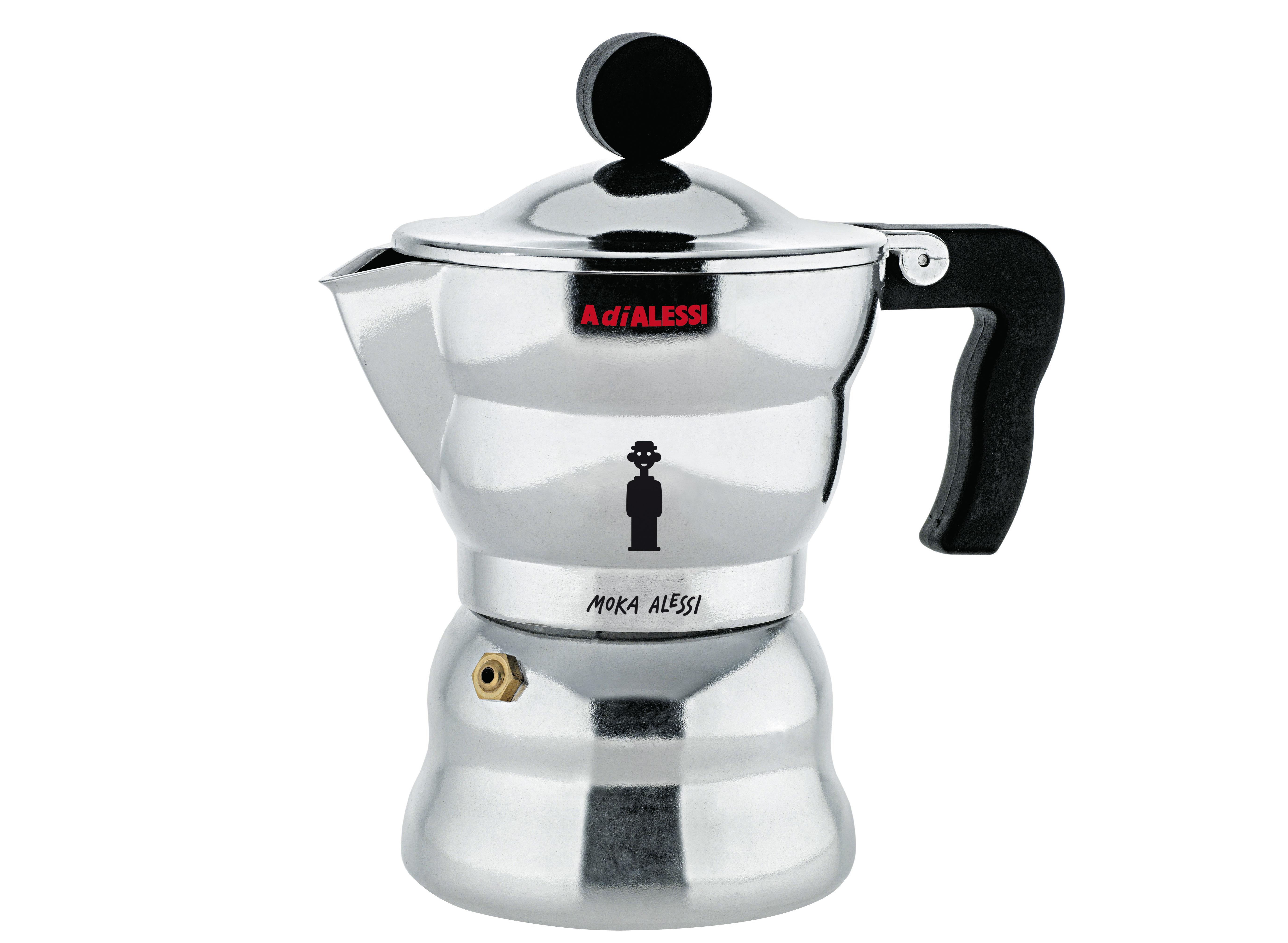 Tableware - Tea & Coffee Accessories - Moka Italian espresso maker - 3 cups by A di Alessi - Polished aluminium - 15 cl - Cast aluminium, Thermoplastic resin