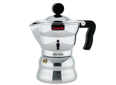 Tischkultur - Tee und Kaffee - Moka italienischer Kaffeebereiter 3 Tassen - A di Alessi - Aluminium poliert - 150 ml - Gussaluminium, thermoplastisches Harz