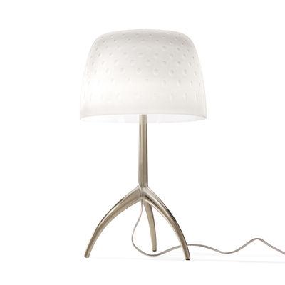 Illuminazione - Lampade da tavolo - Lampada da tavolo Lumière Piccola 30th - / H 35 cm - Edizione limitata & numerata di Foscarini - Motivo Bolle / Piede Champagne - Alluminio pressofuso, Vetro soffiato a bocca