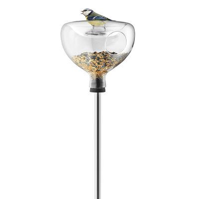 Outdoor - Decorazioni e accessori - Mangiatoia per uccelli - / Su piede - Vaschetta integrata di Eva Solo - Trasparente / Piede acciaio - Acciaio inossidabile, Gomma, Vetro