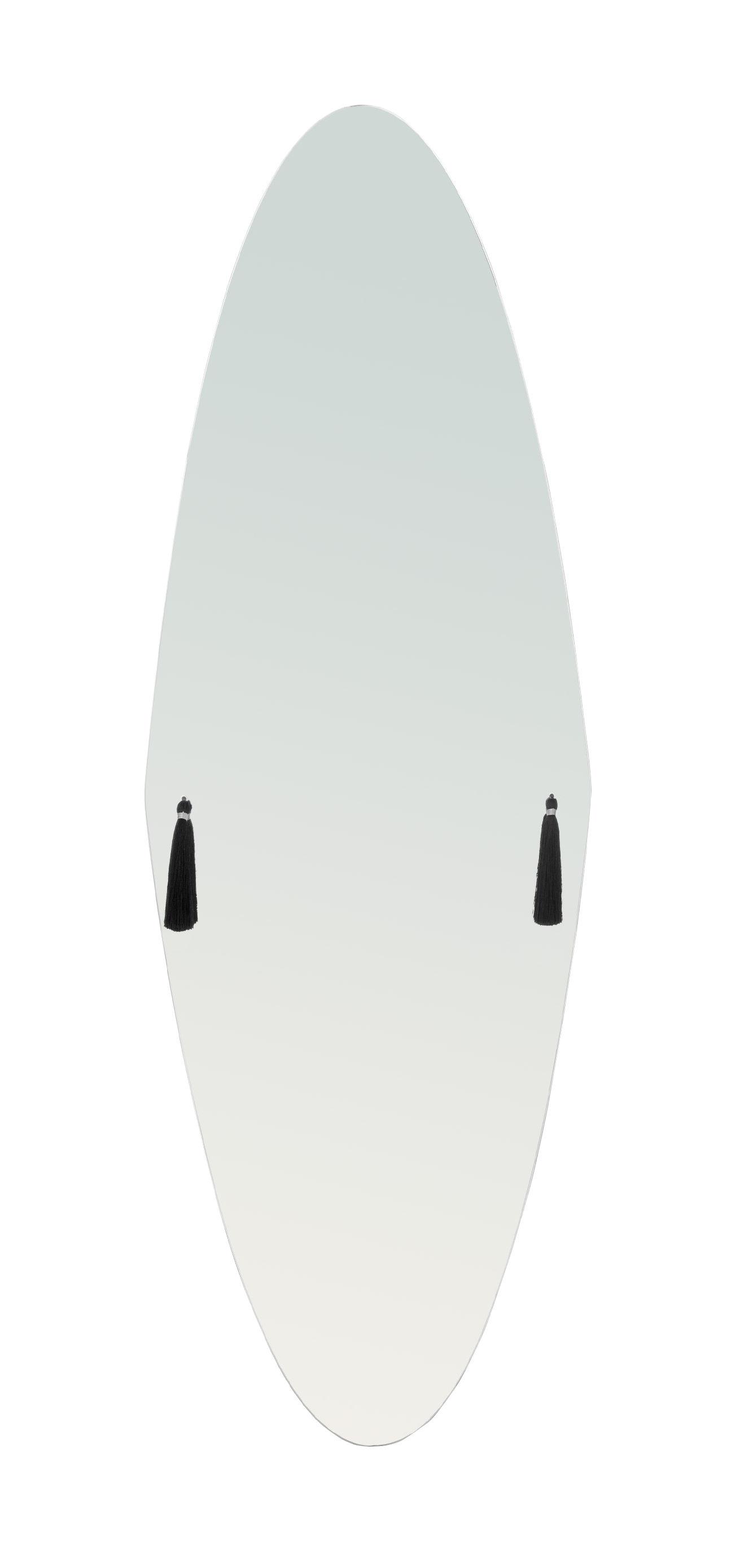 Déco - Miroirs - Miroir mural Panache Large / L 37 x H 112 cm - 6 pompons interchangeables - Petite Friture - Large - Tissu, Verre