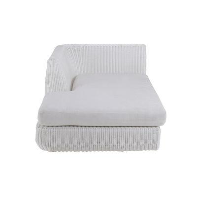 Outdoor - Sofas - Agorà Modular sofa - / Right lounge module - Deep seat / L 100 cm by Unopiu - White / Ecru white cushion - Acrylic fabric, Aluminium, Foam, Waprolace synthetic fibre