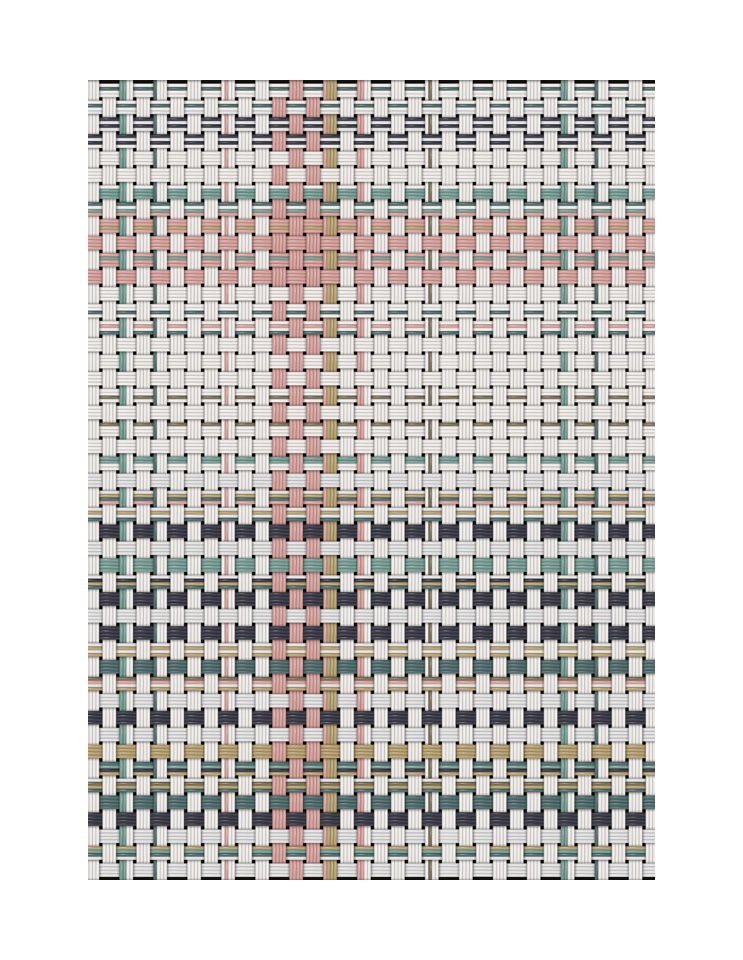 Decoration - Rugs - Tressage Outdoor rug - / 99 x 150 cm - Vinyl by PÔDEVACHE - White & pink - Vinal