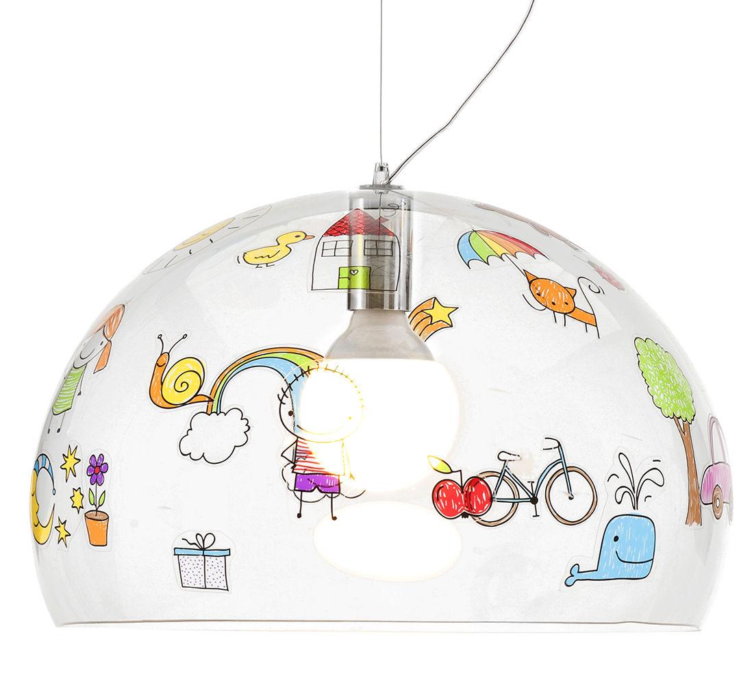 Dekoration - Für Kinder - FL/Y KIDS Pendelleuchte / Ø 52 cm - Kartell - Transparent / Zeichnungen - PMMA