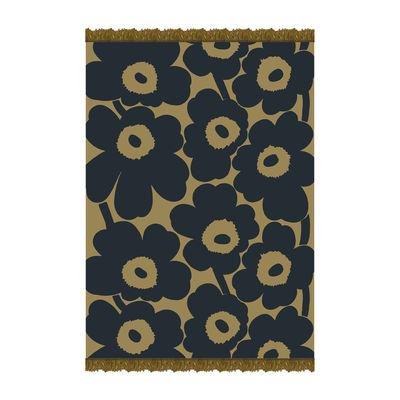 Natale Design - I must have - Plaid Unikko - / 130 x 180 cm di Marimekko - Unikko / Oliva, Blu marine - Cotone, Lana