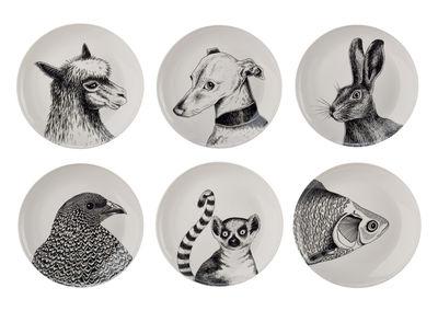 Tableware - Plates - Animals Plate - / Ø 24 cm - Set of 6 by Pols Potten - Black & white - Vitrified porcelain