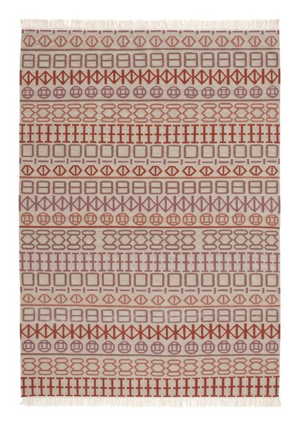 Decoration - Rugs - Naidu kilim Rug - 170 x 240 cm - Reversible by Gan - White / Pink and orange - Wool