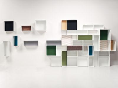 Furniture - Bookcases & Bookshelves - Alma Shelf - 40 x 40 cm - D 20 cm - Summit Gravel fabric back panel by Casamania - 40 x 40 cm - White / Ivory fabric panel - Fabric, Varnished metal