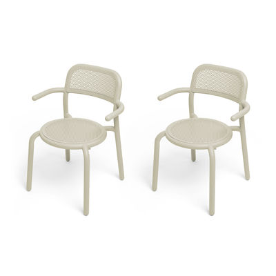 Furniture - Chairs - Toní Stackable armchair - / Set of 2 - Perforated aluminium by Fatboy - Sand - Aluminium