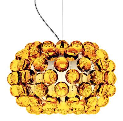 Suspension Caboche Piccola / Ø 31 cm - Foscarini ambre en matière plastique