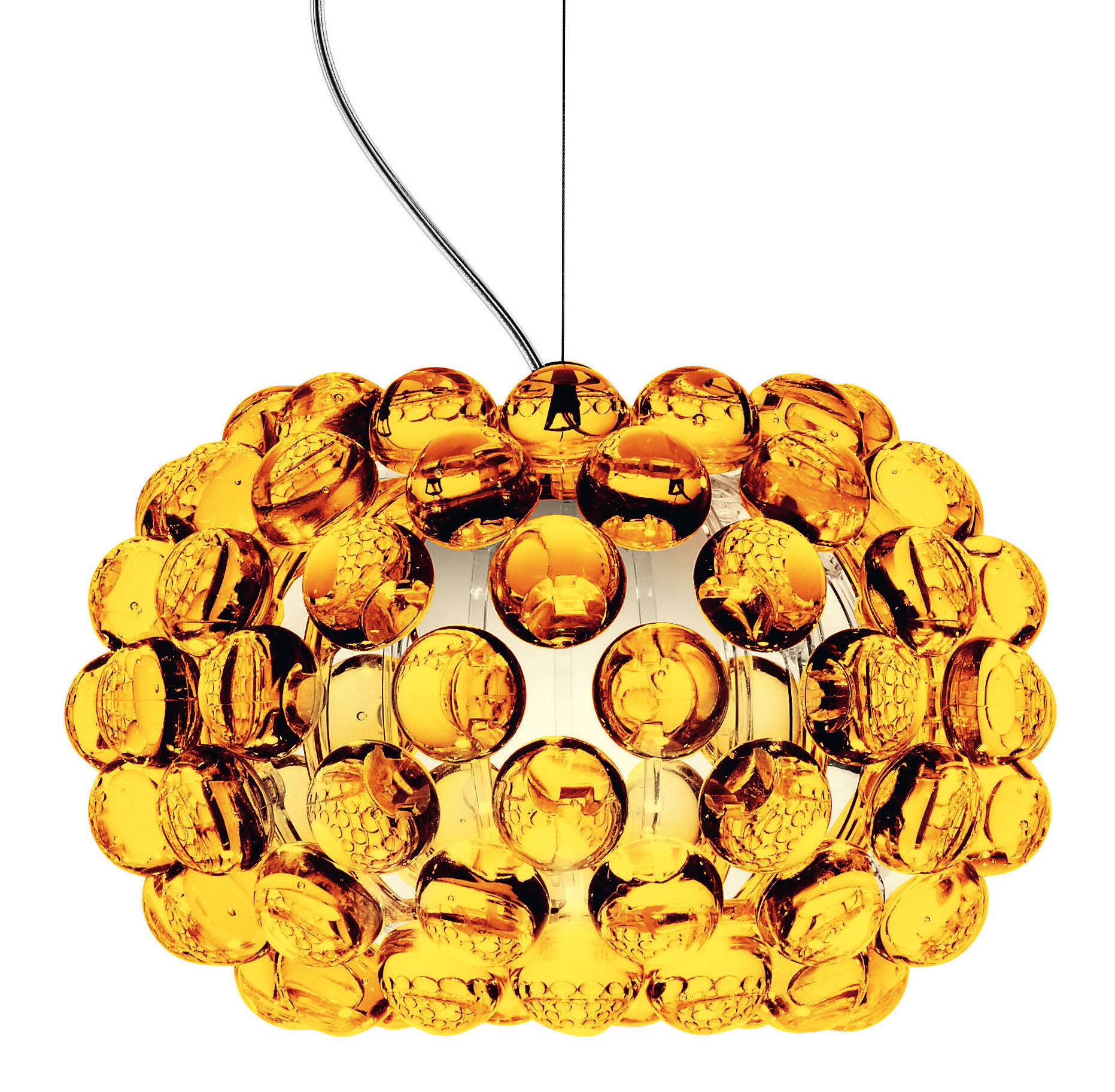 Luminaire - Suspensions - Suspension Caboche Piccola / Ø 31 cm - Foscarini - Ambre - PMMA