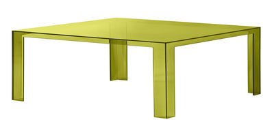 Mobilier - Table basse Invisible Low / 100 x 100 x H 31 cm - Kartell - Vert algue - PMMA