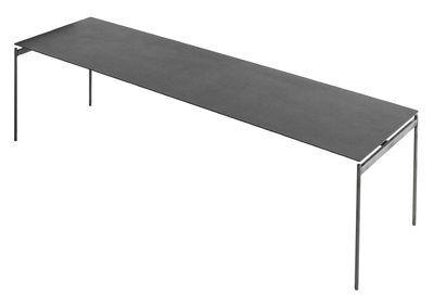 Mobilier - Tables basses - Table basse Torii / 125 x 39 x H 35 cm - Céramique - Horm - Céramique grise / Pied métal brut - Céramique, Métal brut