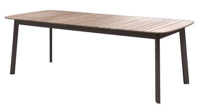 Table rectangulaire Shine / Plateau Teck - 225 x 100 cm - Emu teck,marron d'inde en métal