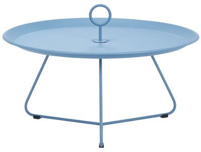 Arredamento - Tavolini  - Tavolino basso Eyelet Large / Ø 80 x H 35 cm - Houe - Blu pastello - Metallo rivestito in resina epossidica