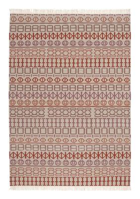 Dekoration - Teppiche - Naidu kilim Teppich / 170 x 240 cm - Wendeteppich - Gan - Weiß / Motive rosa und orange - Wolle