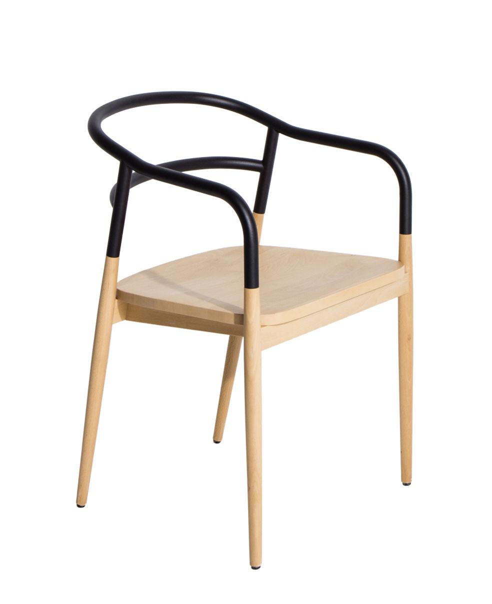Furniture - Chairs - Dojo Armchair - / Beech & steel by Petite Friture - Beechwood / Black - Beechwood, Painted steel