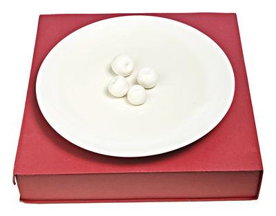 Assiette de présentation Apples / Pommes en relief - Ø 40 cm - Pols Potten blanc en céramique