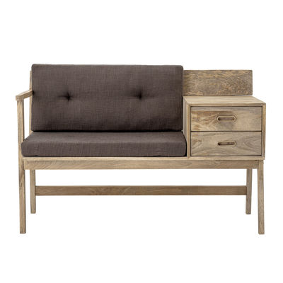 Furniture - Benches - Bench - / Cushions included - 2 drawers by Bloomingville - Natural wood / Grey fabric - Cotton fabric, Mango tree, Polyester