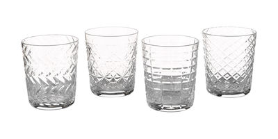 Tavola - Bicchieri  - Bicchiere Cuttings / Set da 4 - Motivi in rilievo - Pols Potten - Trasparente - Verre ciselé
