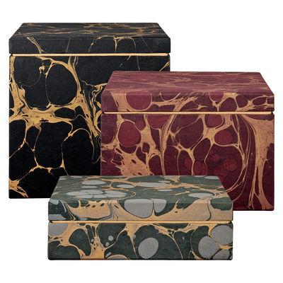Déco - Boîtes déco - Boîte Nubila / Set de 3 - AYTM - Vert, Bordeaux, Noir - Carton