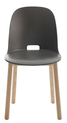 Furniture - Chairs - Alfi Chair - Ash legs by Emeco - Dark grey - Ashwood, Recycled composite material