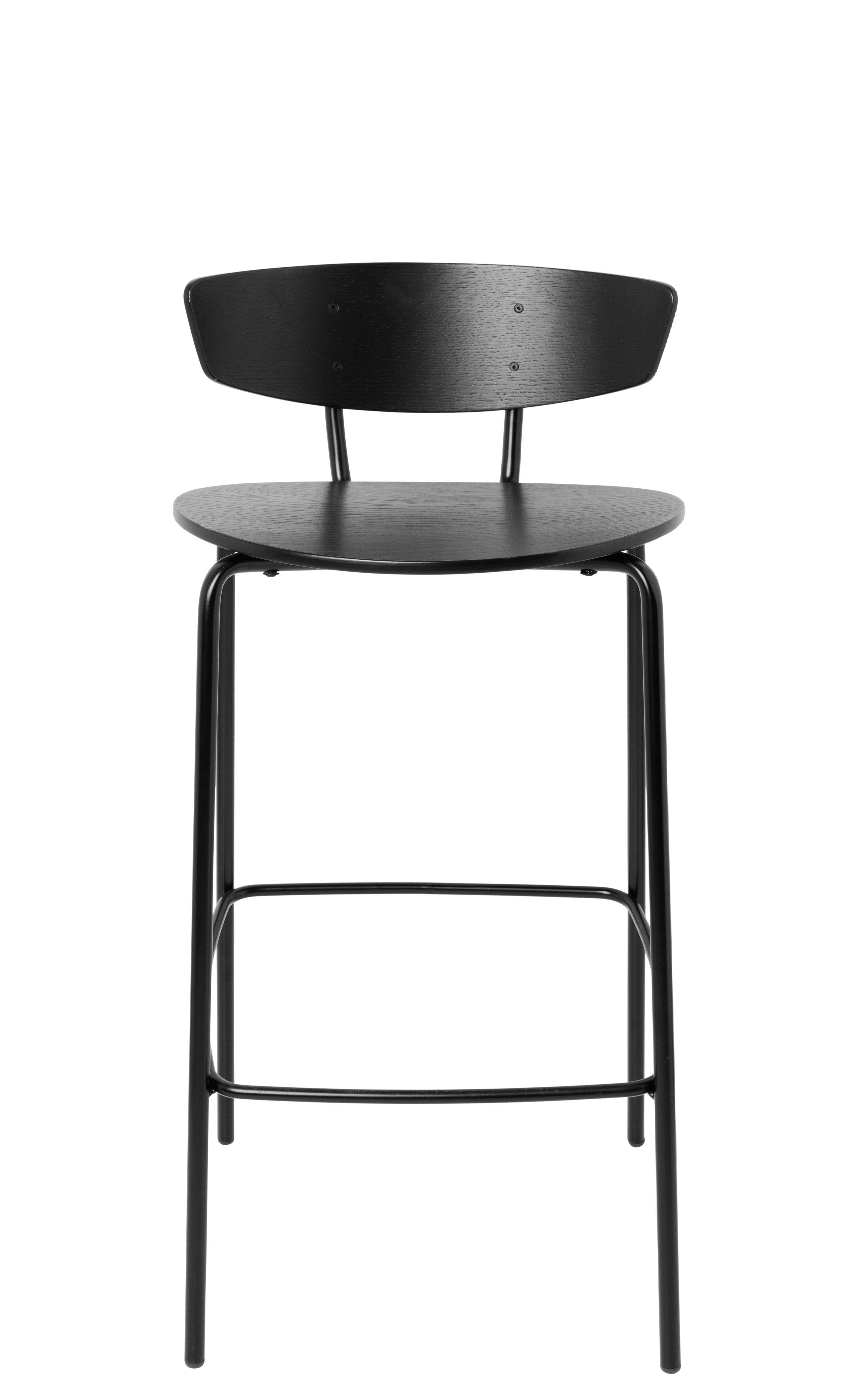 Mobilier - Tabourets de bar - Chaise de bar Herman / H 64 cm - Ferm Living - Large H 64 cm / Noir - Acier laqué époxy, Contreplaqué de chêne laqué