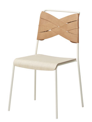 Chaise Torso / Cuir - Design House Stockholm blanc,frêne naturel,cuir naturel en cuir
