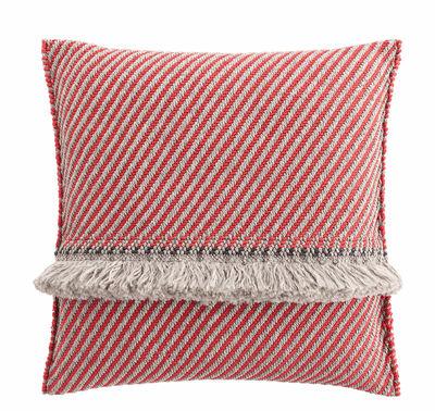 Decoration - Cushions & Poufs - Garden Layers Cushion - / Wide - Handwoven by Gan - Diagonals / Red & almond - Foam rubber, Polypropylene
