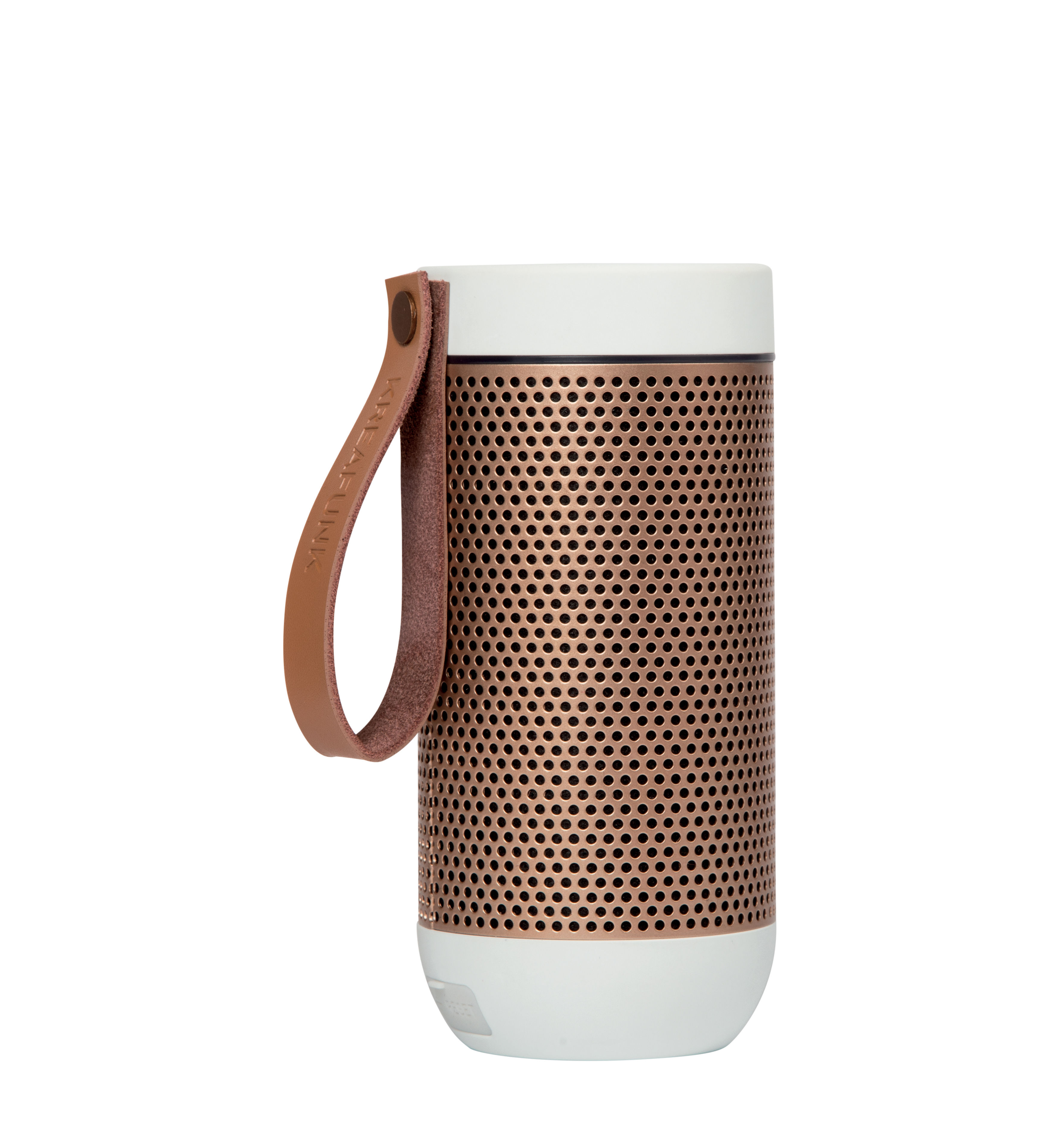 Noël design - Pour elle - la Scandinave - Enceinte Bluetooth aFUNK / Portable sans fil - Kreafunk - Blanc /  or rosé - Aluminium, Cuir, Matière plastique