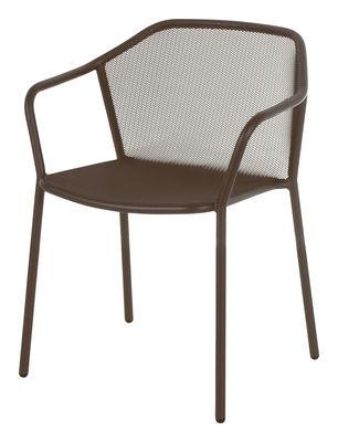 Mobilier - Chaises, fauteuils de salle à manger - Fauteuil bridge Darwin / Empilable - Métal - Emu - Marron d'Inde - Acier verni