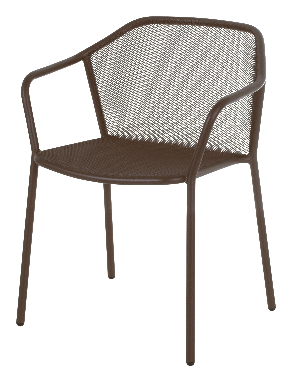 Mobilier - Chaises, fauteuils de salle à manger - Fauteuil empilable Darwin / Métal - Emu - Marron d'Inde - Acier verni