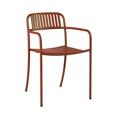 Mobilier - Chaises, fauteuils de salle à manger - Fauteuil empilable Patio Lames / Lattes - Inox - Tolix - Rouille Fauve - Acier inoxydable