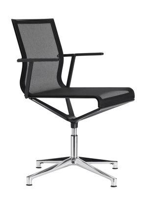Mobilier - Fauteuils de bureau - Fauteuil pivotant Stick Chair / Assise tissu - Pied 4 branches - ICF - Résille noire / Base alu poli - Aluminium, Thermoplastique, Tissu