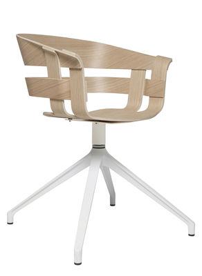 Mobilier - Chaises, fauteuils de salle à manger - Fauteuil pivotant Wick / Pied central - Design House Stockholm - Frêne naturel / Pied blanc - Métal verni, Placage de frêne