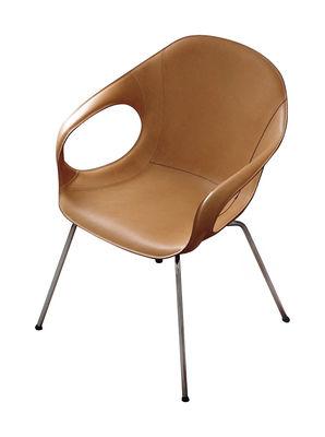 Mobilier - Chaises, fauteuils de salle à manger - Fauteuil rembourré Elephant in Hide / Cuir & pieds métal - Kristalia - Cuir beige - Acier chromé, Cuir, Mousse, Polyuréthane