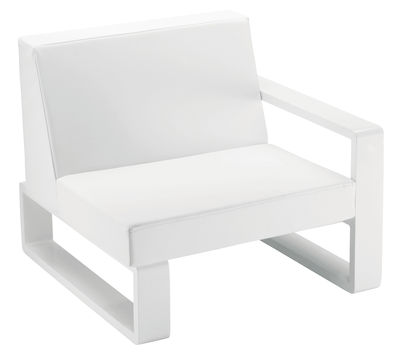 Outdoor - Gartensofas - Kama Gepolsterter Sessel - EGO Paris - Vinyl-Bezug weiß / Gestell silberfarben - lackiertes Aluminium, Vinyl
