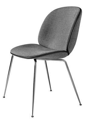 Möbel - Stühle  - Beetle Gepolsterter Stuhl / Gamfratesi - Gubi - Grau / Stuhlbeine chrom-glänzend - Gewebe, verchromter Stahl