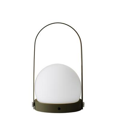 Luminaire - Lampes de table - Lampe sans fil Carrie LED / Recharge USB - Métal & verre - Menu - Vert olive - Acier poudré, Verre opalin