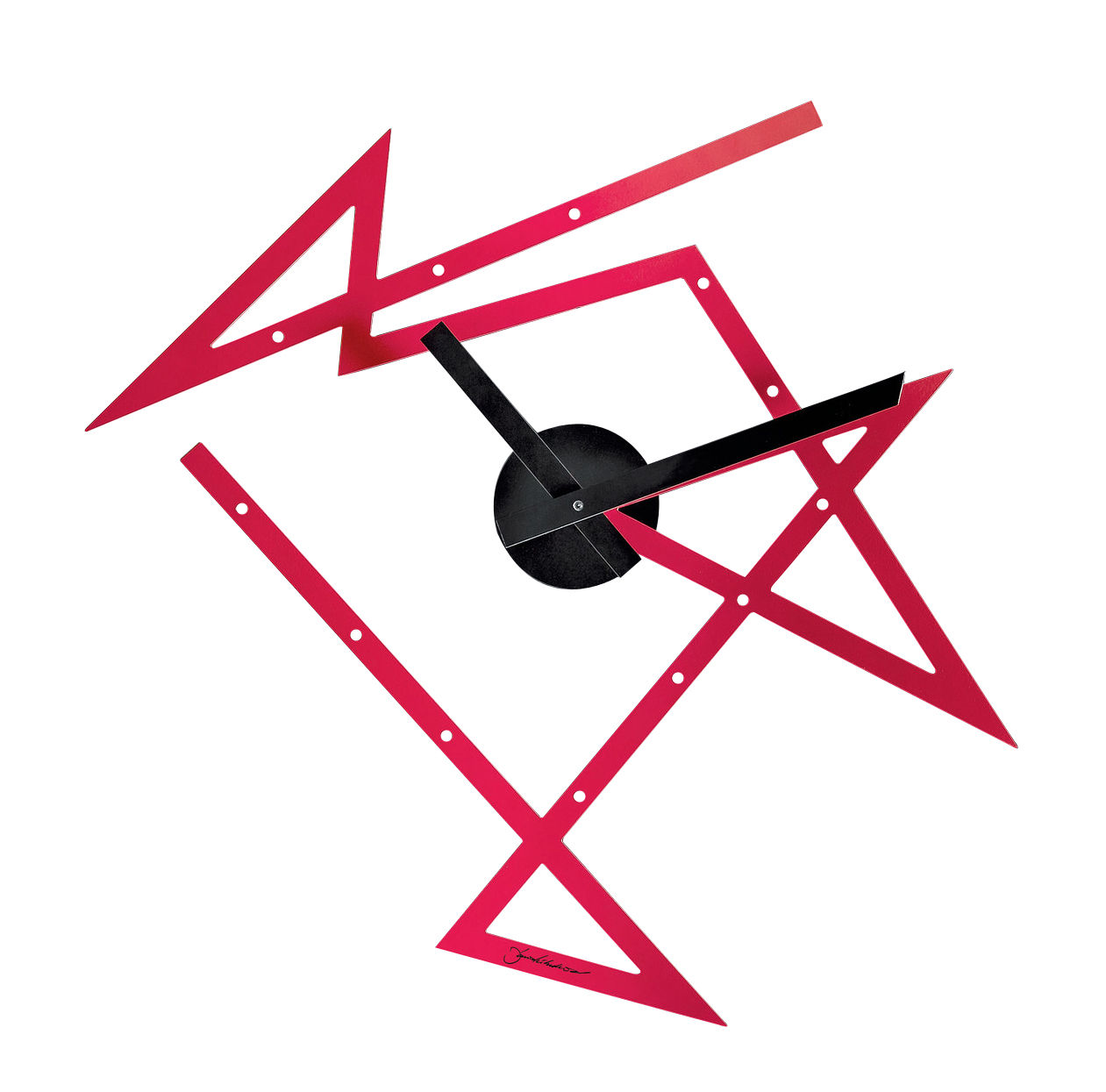 Interni - Orologi  - Orologio a parete Time Maze / L 50 x H 47,5 cm - Alessi - Rosso / Lancette nere - Acciaio