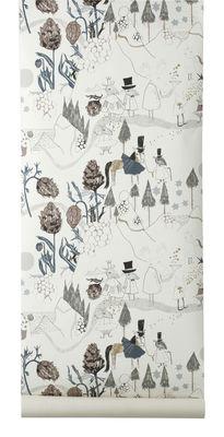 Déco - Pour les enfants - Papier peint Mountain Friends - Ferm Living - Blanc cassé, marron & bleu - Papier-peint - Toile intissée
