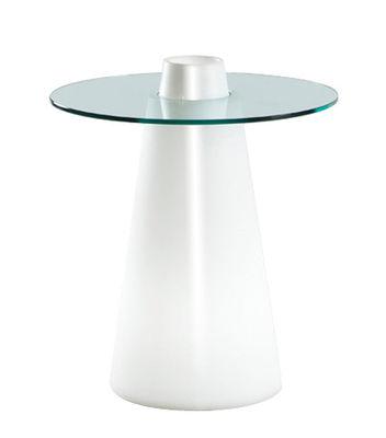 Table ronde Peak / Ø 70 x H 80 cm - Slide blanc laqué en verre