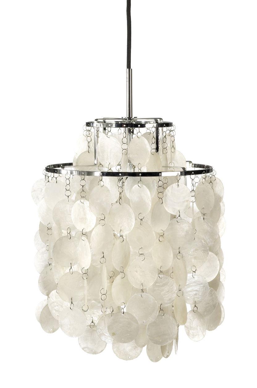 Lighting - Pendant Lighting - Fun 2DM Pendant - Ø 27 cm - Panton 1964 by Verpan - Ø 27 cm - Mother-of-pearl & Chrome - Metal, Pearly
