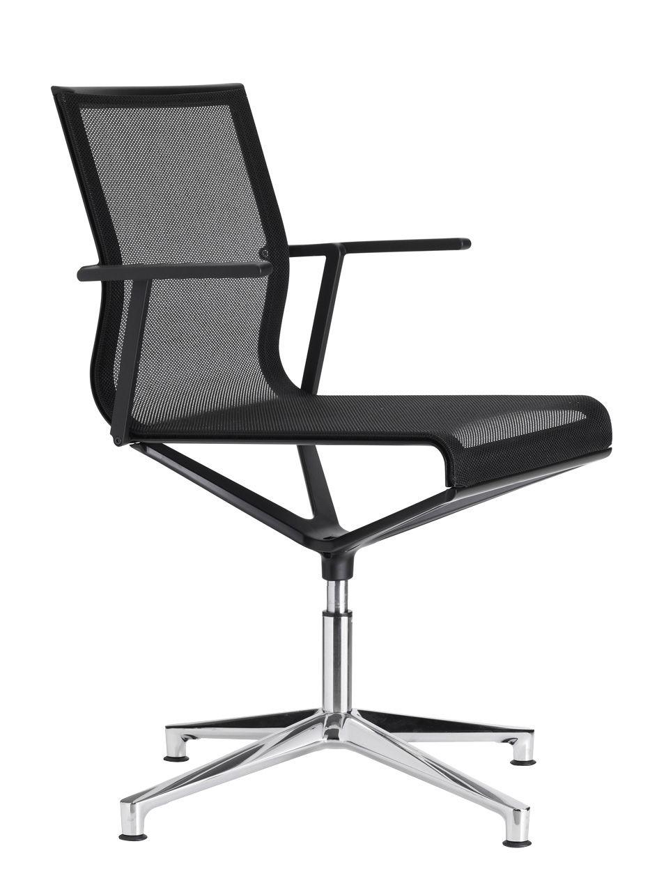 Arredamento - Sedie ufficio - Poltrona girevole Stick Chair - sedia a 4 razze - Seduta a rete di ICF - Rete in colore nero - Base in alluminio - Struttura e braccioli in colore nero - Alluminio, Termoplastica, Tessuto